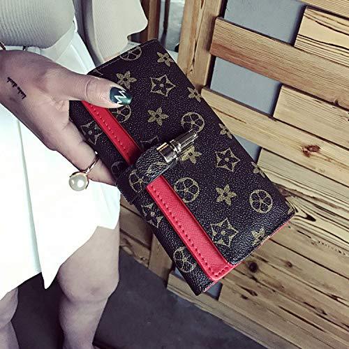 Ldyia Portemonnaie Damenportemonnaie lang mit Aufdruck alte Blume Damenhandtasche große Kapazität dreifach Portemonnaie, rot