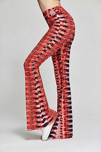 Smile YKK Pantalon Jambe Large Femme Pantalons de Yoga Jogging Soirée Casual Evasé Elégante Rouge