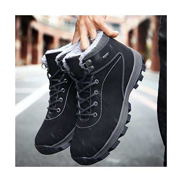 UBFEN Mens Womens Snow Boots Winter Warm Plush Booties Outdoor Sports Walking Hiking High Top Shoes 9