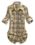Match Damen Langarmhemd Flanell Karierte Bluse Plaid Shirt #B003(2021 Checks#3,Medium)