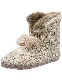 Totes Ladies Cable Knit Boot Slippers, Botas de Estar por casa para Mujer