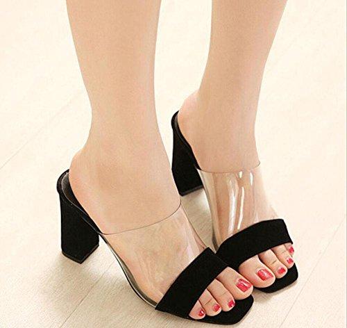 nuovi spessi ciabatte tacco alto estivi europei e americani stile moda selvaggio fresco con scarpe tacchi alti Black