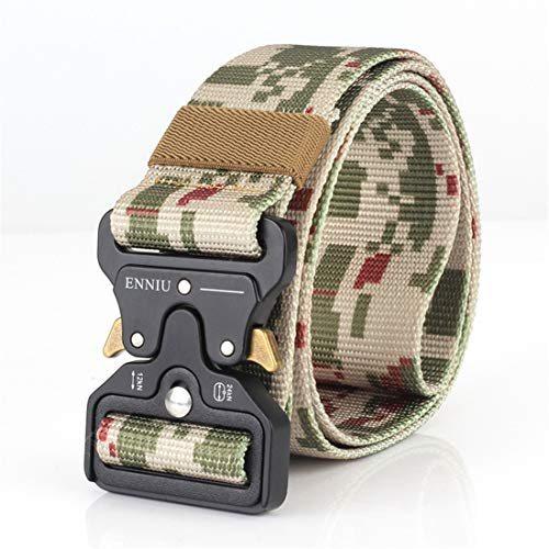 Yeying123 Tactical Belt Mens Military Nylon Waist Belt Mit Metal Buckle Adjustable Waistband Für Combat Equipment Army Training Outdoor Jagd,Camouflage1 (Training-equipment Combat)