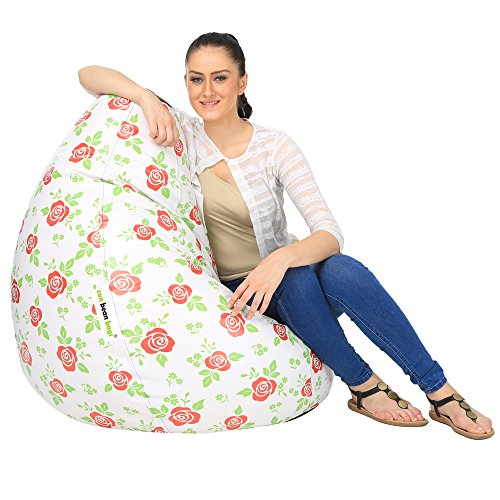can bean bags Red Rose Digital Printed Bean Bag Cover Without Beans   Red and White