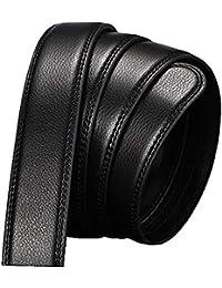 b1963004dc7 CHAOBAOBAO Hommes Noirs Sans Boucle De Ceinture En Cuir Business Boucle  Automatique Vêtements De Loisirs Pour