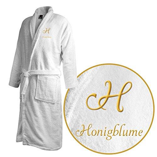 Bademantel mit Namen Honigblume bestickt - Initialien und Name als Monogramm-Stick - Größe wählen White