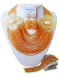 laanc Damen High Qualität Brautschmuck 15Reihen Kristall Nigeria Perlen African Hochzeit Schmuck Sets