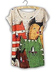 QHGstore Moda Vintage Vintage T shirt Mujer Ropa Tops Algodón Animal Imprimir Camiseta NO.3
