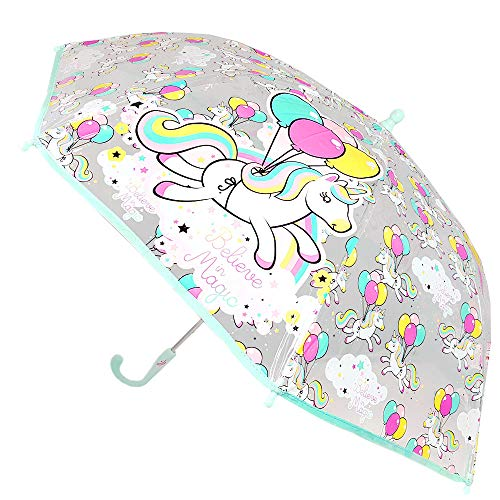 Unicornio Paraguas Transparente Manual Paraguas Infantil