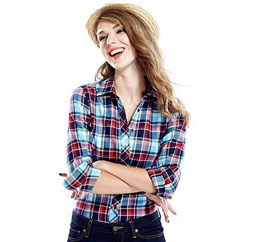ACVIP Chemisier Femme/Fille Étudiante Carreaux Blouse Casuel Manche Longue Shirt Coton avec Boutons,17 Couleurs 1#