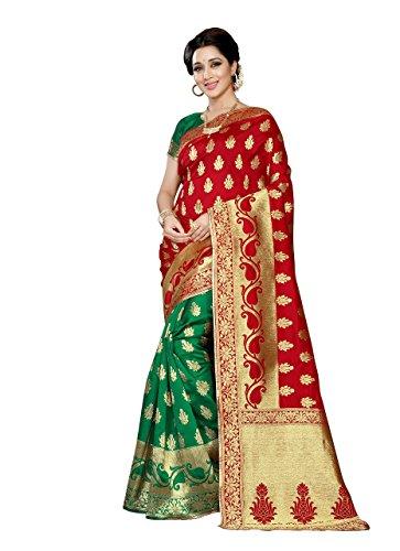 J B Fashion Women's Silk Red,Green Saree With Blouse Piece