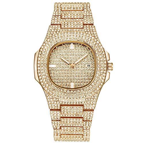 Frauen Uhr, Yuwegr Luxus Damen Armbanduhr Mode Elegant Leder Band Legierung Strass Keramik Kristall Quarz Analoge Damenuhr (Goldene) (Frauen Mode Luxus Uhren)