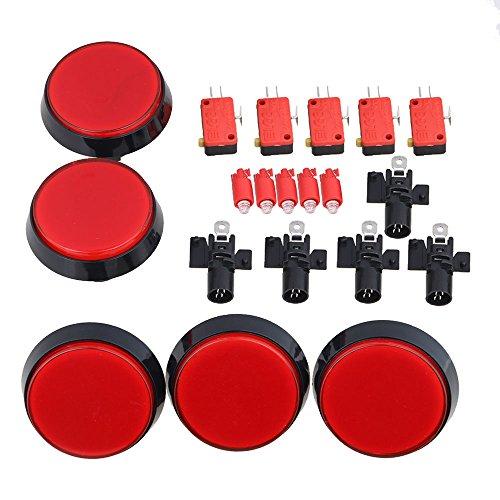 BQLZR Rot 60mm Vollgröße Spielkonsole Rund Drucker Mikro Knopf 5er Pack (Mikro-drucker)