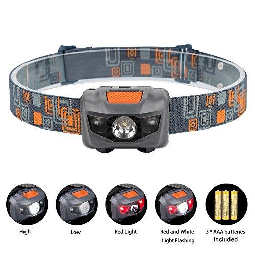Linkax Superheller LED Stirnlampe,LED Kopflampe,4 Helligkeiten zu wahlen,LED Stirnlampen,LED Kopflampen, Kopfleuchten,inklusive 3 AAA Batterie