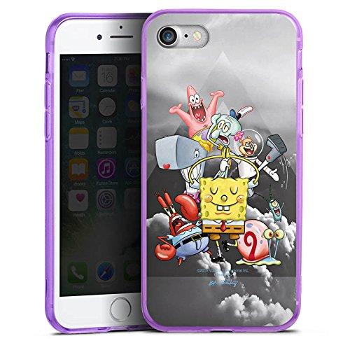 Apple iPhone 7 Silikon Hülle Case Schutzhülle Spongebob Fanartikel Merchandise Spongebob Crew Silikon Colour Case lila