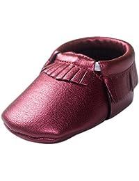 HAPPY CHERRY Chaussures Bébé Fille Garçon Princesse en Cuir Artificiel Souple Moccasins Frange Chaussures Premiers pasLongueur 11/12/13CM Taille 19/20/21 pour 6-18mois Meilleur Cadeau Multicolore
