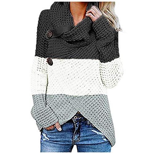iHENGH Damen Herbst Winter Übergangs Warm Bequem Slim Lässig Stilvoll Frauen Langarm Solid Sweatshirt Pullover Tops Bluse Shirt -