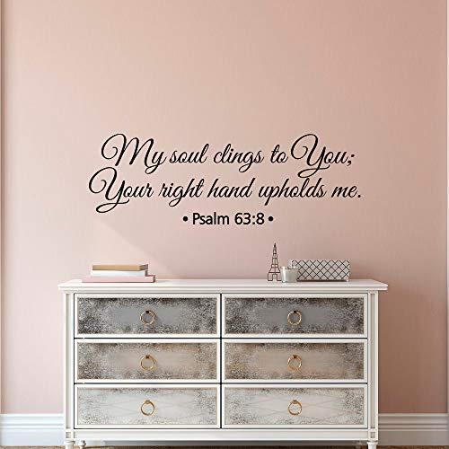 Wandtattoo Kinderzimmer Bibel Schrift Vers Wall Decal Zitate meine Seele klammert sich an dich Psalm 63: 8 für Wohnzimmer Schlafzimmer