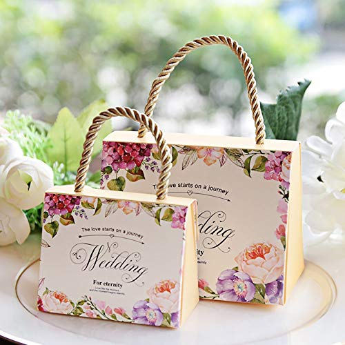 Lvcky, set da 30 scatole per confetti, motivo floreale, per bomboniere da matrimonio, con manico, in carta, decorative champagne(champagne )