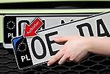 Polen Nummernschild Kennzeichen Aufkleber EU Feld in Schwarz überkleben - Im Moment der Trend in der Tuning Szene ?
