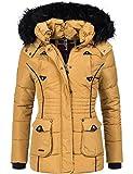 Marikoo Damen Winter Jacke Steppjacke Vanilla (vegan hergestellt) Camel Gr. S