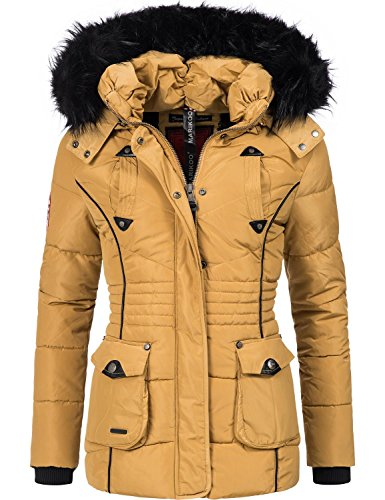 Marikoo Damen Winter Jacke Steppjacke Vanilla (vegan hergestellt) Camel Gr. L