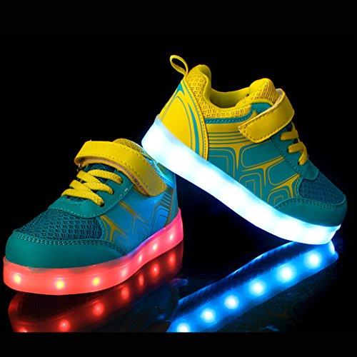 DoGeek LED Schuhe Kinder Damen 7 Farbe USB Aufladen Leuchtend Sportschuhe Led Kinder Farbwechsel Sneaker Turnschuhe für Herren Damen Amarillo