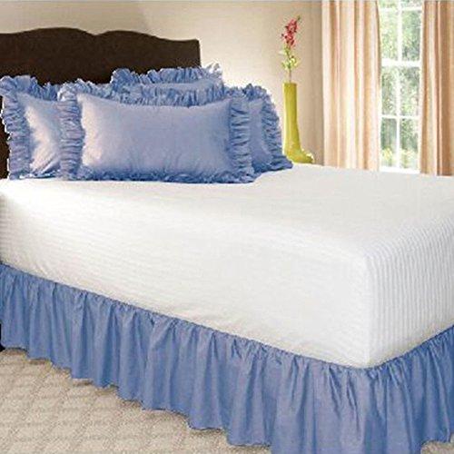Zantec Tagesdecken Einfarbige Rüsche Wrap Around Elastische Bett Röcke Dressing Drop Bett Dekoration (Euro Beautyrest Kissen)