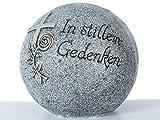Grabdekoration: Kugel mit Inschrift'In stillem Gedenken', aus Steinharz, Dekokugel Grab Friedhof