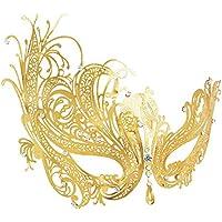 RXBC2011 Máscara veneciana de metal con fiesta de baile de diamantes de imitación de oro