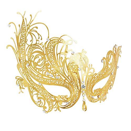RXBC2011 Mascherata Veneziana Maschera da Donna in Metallo da Taglio per Halloween Costume da Ballo in Oro Cristallo con Strass