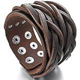 MunkiMix Metalllegierung Legierung Leder Echtleder Armband Armreifen Manschette Seil Braun Geflochten Motorradfahrer Biker Einstellbar Herren