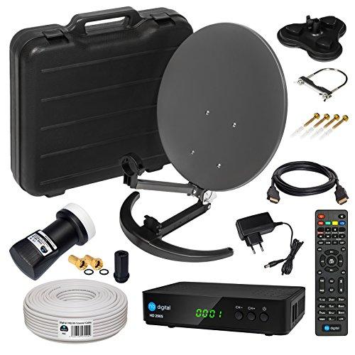 HD Camping Sat Anlage im Koffer von HB-DIGITAL: 📡 Mini Sat Schüssel 40cm Anthrazit ➕ UHD Single LNB 0,1 dB ➕ Hochwertiger mini Sat-Receiver ➕ 10m SAT-Kabel inkl. F-Stecker 💢 4K UHD Full HD 1080p fähig 💢