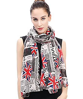 Lina & Lily Newspaper Union Jack Print Women's Scarf Oversized (White Background)