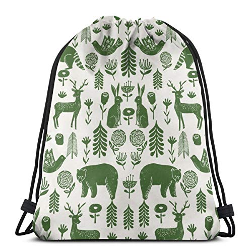 Folk Scandinavian Winter Holiday Forest Animals Green_11050 3D Print Drawstring Backpack Rucksack Shoulder Bags Gym Bag for Adult 16.9