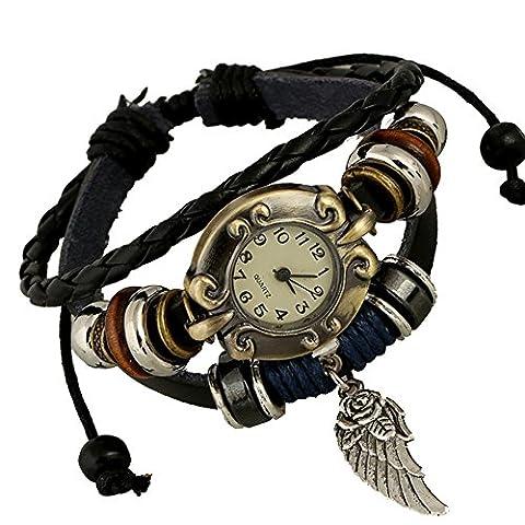 Fashion Retro Punk Handmade Bracelet Wing Pendant Leather Strap Quartz Men Women Wrist Watch, Black