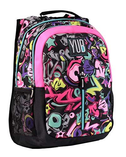 Zaino yub graffiti, 27 lt, multicolore fucsia, scuola trekking e tempo libero