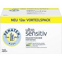 Penaten Ultra Sensitiv Feuchttücher parfümfrei | Tücher ohne Alkohol und Parfüm für hochsensible Babyhaut | Auch für Allergiker geeignet | Vorteilspack: 12x56 Stück