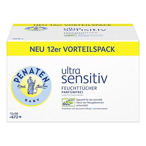 Penaten Ultra Sensitiv Feuchttücher parfümfrei, Tücher ohne Alkohol und Parfüm für hochsensible Babyhaut, Auch für Allergiker geeignet, Vorteilspack 12er Pack (12 x 56 Stück)