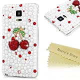 All Products : Mavis's Diary Cover for Galaxy Note 4 ,Samsung Galxy Note 4 Case - 3D Handmade Red Diamonds Gems Cherry White Pearls Hard PC Cover Cool Cute Cherry Design Transparent Case