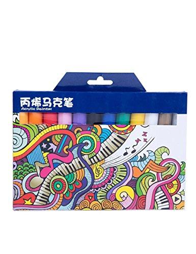 MEEDEN Acrylfarben Marker Medium Tip Acrylstifte, 12 verschiedene Farben (Paint Caps Graffiti)
