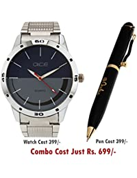 Dice/Oculus Watch and Pen Extensive Collection Combo for Doctors, Medicos, Nurses and Teachers Consist of Stainless Steel Multi Colour dial Men's Watch and Stethoscope Shaped Clip Pen.