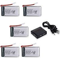 Expresstech @ Lipo Baterías 750mAh 3,7V + 5 en 1 cargador de batería para Drone Quadcopter Syma X5 X5C X5SW X5SC X5C-1 X5SC-1 X5SW Cheerson CX-30W UDI U45 CX-31 JJRC H5C H5 Skytech M68