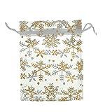 HooAMI 25X 12cm x16cm Organza beutel Säckli mit Schneeflocke Organzasäckchen Geschenk Schmuckbeutel (Weiß)