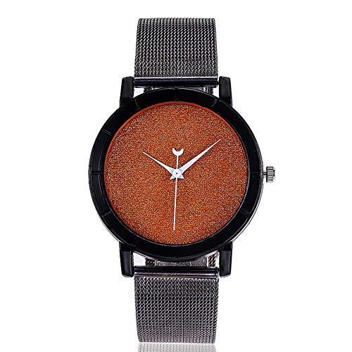 Minimalistisch Armbanduhren, Damen Uhren Analog Quarz mit Mesh Edelstahl Ultradünne Beiläufig Mädchen Kleid Quarzuhr LEEDY