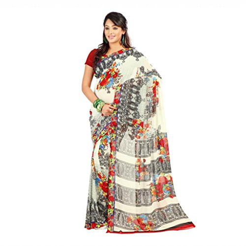 Shaktideal Dailywear light weight printed sarees cream and grey