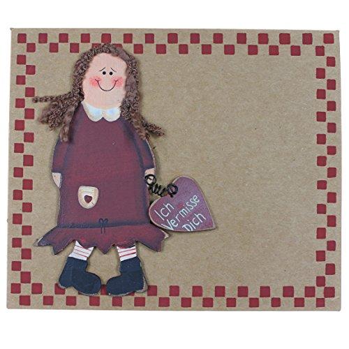 Grußkarte mit Holzfigur ~ Ich Vermisse Dich ~ Mädchen ~ mit Umschlag ~ Pappe 16,5 x 14 cm