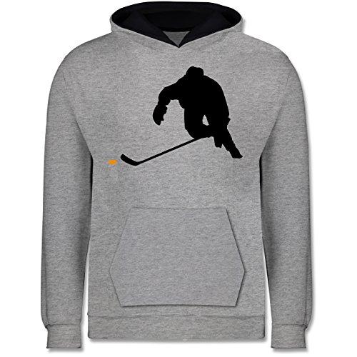 Sport Kind - Eishockey Sprint - 12-13 Jahre (152) - Grau meliert/Navy Blau - JH003K - Kinder Kontrast Hoodie -