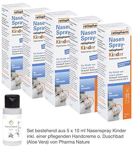 Nasenspray Ratiopharm Kinder Sparset 5 x 10 ml inkl. einer hochwertigen Handcreme o. Duschbad von Pharma Nature