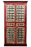 Orientalischer grosser Schrank Kleiderschrank Billur -3- 140cm hoch | Marokkanischer Vintage Dielenschrank schmal | Orientalische Schränke aus Holz massiv für den Flur, Schlafzimmer, Wohnzimmer oder Bad